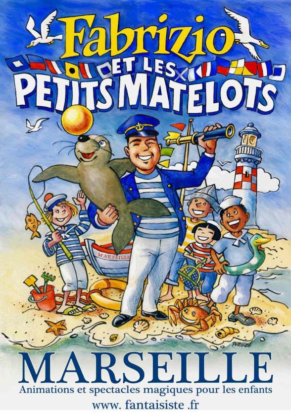 Fabrizio le marin magicien des enfants à Marseille, Fabrizio le magicien et son spectacle sur le thème de la mer et des océans, magicien à marseille France, artiste magicien à Marseille