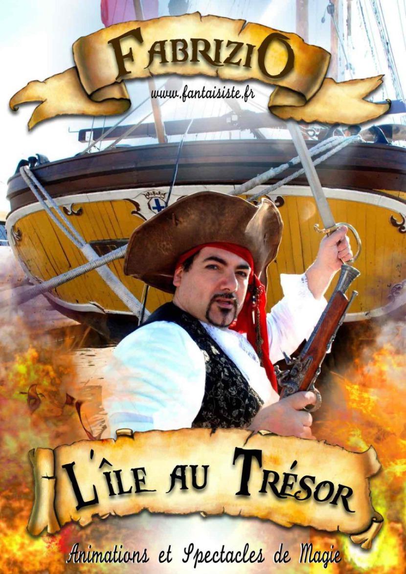 affiche de magicien pirate Fabrizio artiste fantaisiste pour les enfants en France, pirate magicien des enfants en France et à marseille région PACA