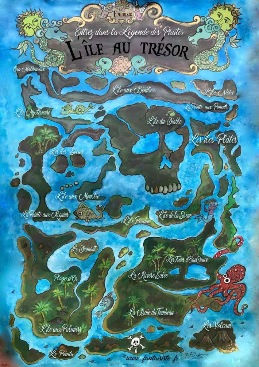 carte au trésor de pirate, pirate treasure map, carte au trésor de Fabrizio le pirate magicien des enfants fantaisiste et sculpteur de ballons international à Marseille France