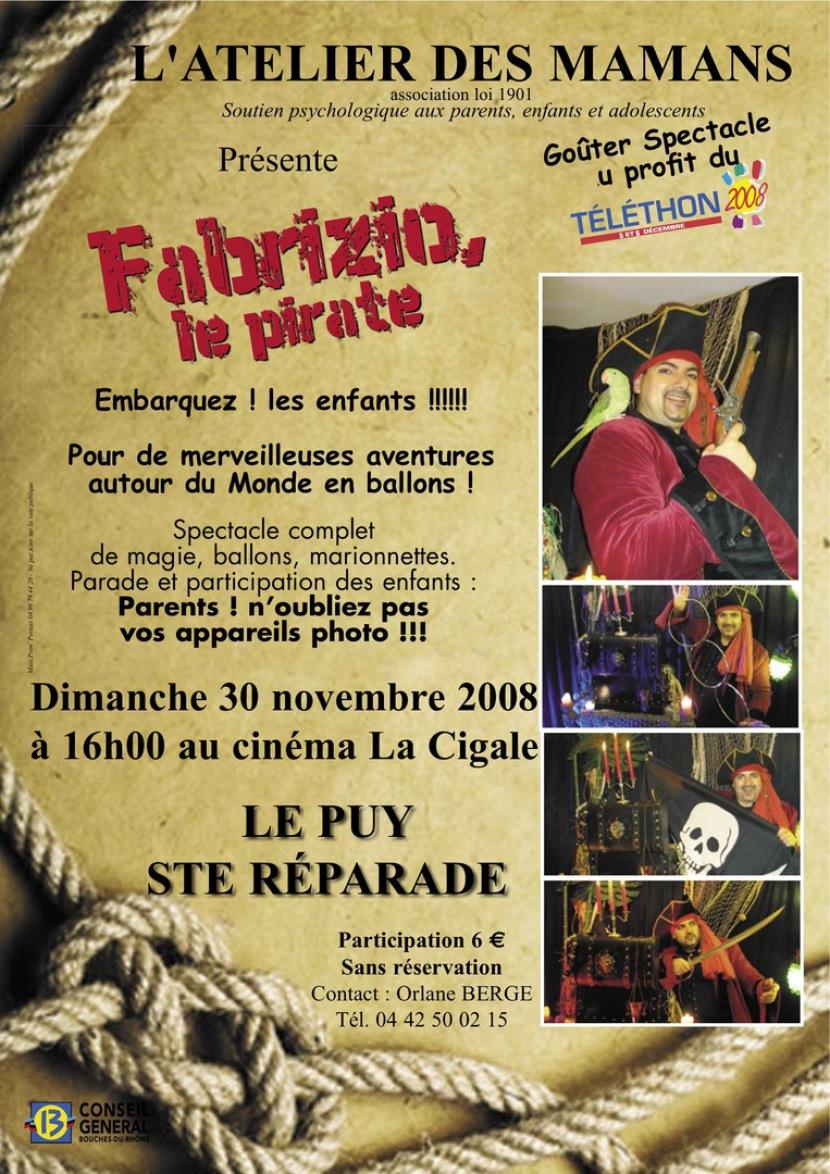 affiche magicien pirate fabrizio le pirate sculpteur de ballons pour les enfants en France, marseille, spectacle marseille