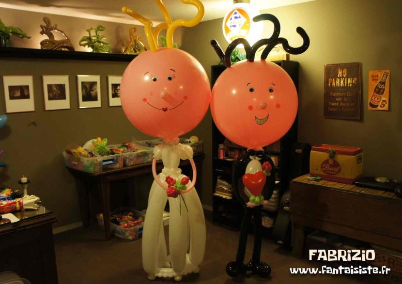 personnages en ballons pour les mariages Marseille,mariés en ballons de fabrizio bolzoni magicien des ballons sculptés en France Marseille PACA France