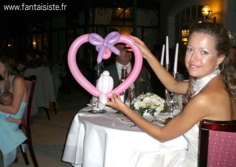 coeur en ballons sculptés pour les mariages,animation sculptures de ballons pour les mariages avec Fabrizio le magicien fantaisiste à Marseille