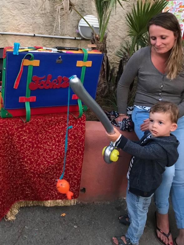 canne à pêche en ballons sculptés de Fabrizio le magicien en ballons